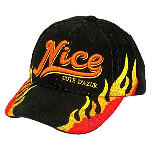 Souvenirs de France - Casquette Flammes Nice - Taille réglable - Couleur : Noir