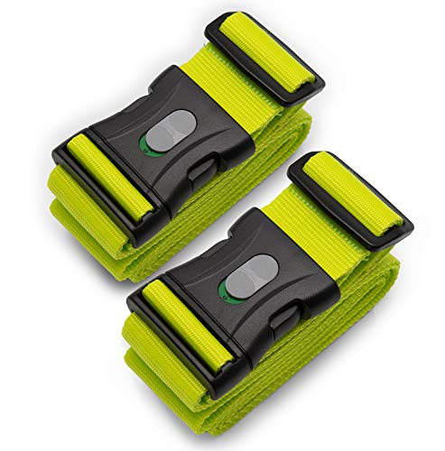 BE-HOLD, 2 Stück Kofferband, Koffergurt, Gepäckgurt extra lang (250 x 5 cm) mit verschließbarer Schnalle schützt Ihren wertvollen Gepäckinhalt vor Verlust (Farbe grün)