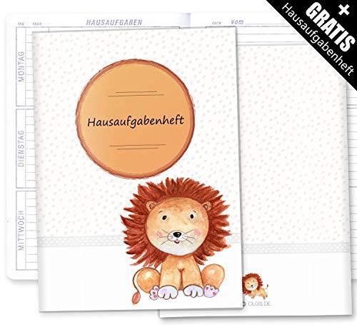 Hausaufgabenheft Hülle Safari Tour inkl. Heft Schulheft Schutzhülle Umschlag schöne Geschenkidee (Hausaufgabenheft ohne Personalisierung, Löwe)