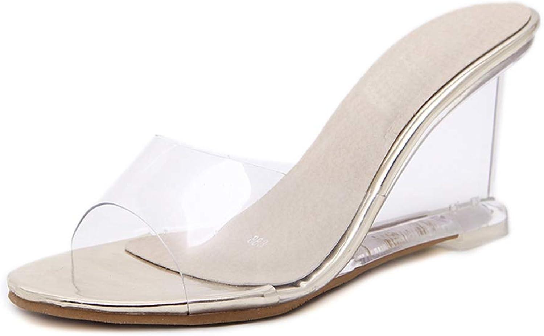 U-MAC High Heel Platform Sandals for Women Sexy Fashion Summer Casual Transparent Slippers Ladies Flip Flops Solid Slides Walking Dress shoes