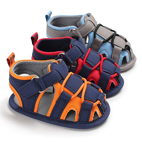 Isbasic Baby Boys Girls Summer Beach Breathable Athletic Closed-Toe Sandals Soft Sole Anti-Slip Toddler First Walker Shoes, A-navy Blue&red, 6-12 Months Infant