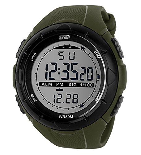 Qingmei Herren Sportuhren SKMEI Outdoor Multifunktionale Digitalanzeige Chronograph Wasserdicht Uhren (Grün)