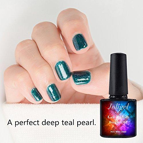 Joligel Vernis à ongles en gel UV LED Shellac Vernis à ongles pour nail art manucure Semi Permanent Soak Off, une parfaite profond Bleu sarcelle Pearl (Vert), bleuté 10 ml
