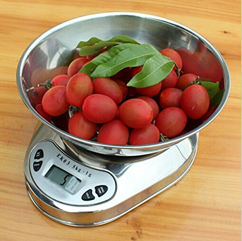 Zorpia 0.1oz High Accuracy 11lb/5kg Digital Multifunction Kitchen Food Scale with Removable Bowl Can Measure Weight and Volume, Stainless Steel