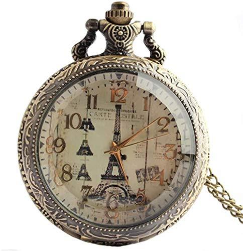 Woodtree Taschen-Uhr-Anhänger Paris Eiffelturm Zeichnung Gravur arabische Ziffern Streifen Quarz-Halskette Bronze-Legierung Taschen-Uhr-Geschenk Fancy Retro Mann Einer Frau