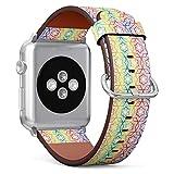 Compatible con Apple Watch de 38 mm y 40 mm – Correa de Reloj de Piel con Cierre de Acero Inoxidable y adaptadores (Holograma geométrico de Grado Moderno)