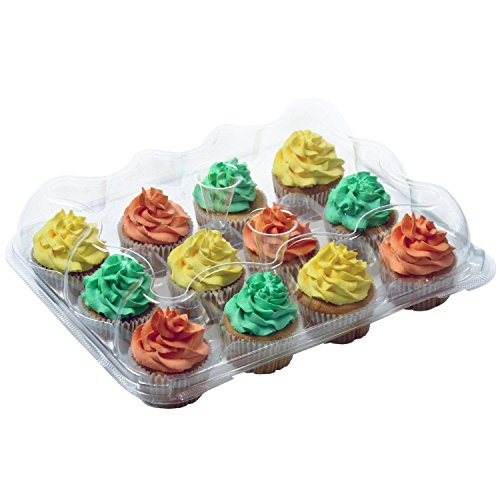 OccasionWise Premium Large Clear Cupcake Boxes with 12 Compartments   Durable Cup Cake Container/Holder to Keep Your Cupcakes or Muffins Delicious and Fresh Longer   Pack of 4