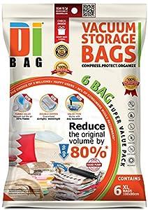 DIBAG 6 Bolsas de almacenaje al vacio de ropa para ahorrar espacio. Para guardar ropa, ropa de cama, almohadas, mantas, cortinas, edredones, Tejidos y Sábanas. Extra Grande, (100 x 80cm)