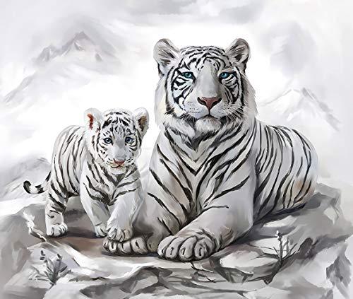Puzzle De 1000 Piezas Rompecabezas Tigre Blanco Madre Y Bebé Arte Bricolaje para Adultos Mayores Adultos