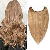 40cm - Extensiones de Cabello Natural Hilo Invisible 60g Una Piezas 100% Remy Human Hair Extension - 27# Rubio Oscuro