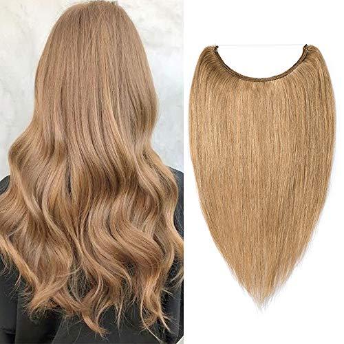 Extension Filo Trasparente Capelli Veri 50cm 27 Biondo Scuro Umani Filo Trasparente Fascia Unica 70g One Piece Remy Hair Extension