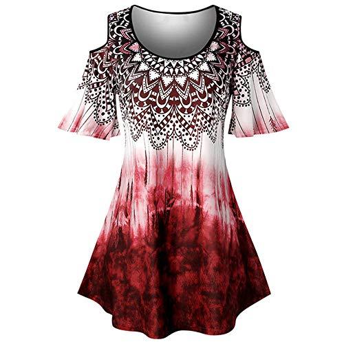 N\P Blusa de gran tamaño con estampado batik y camisa de hombro fría y mangas de estilo informal. rojo XXL