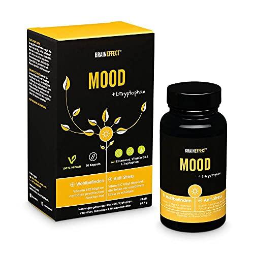 BRAINEFFECT MOOD - Natürlicher Stimmungsaufheller mit L-Tryptophan, Vitamin B Komplex, Vitamin C, D3, K2 & Mehr - Vegan, German Quality, Hochdosiert - Gute Laune Tabletten - 90 Kapseln