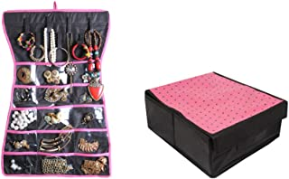 PrettyKrafts Lingerie Organizer | Bra Organiser | Undergarments Storage Box and Hanging Wardrobe Organizer with 15 Pockets...