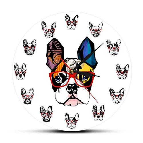tyjsb Retrato de Bulldog francés con Gafas de Sol, Reloj Colgante de Pared de acrílico, decoración de Tienda de Mascotas, Reloj de Pared, Regalo de Amante de Bulldog 30X30cm