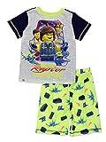 Lego Movie 2 The Second Part Boy's 2 Piece Short Sleeve Tee Shorts Pajamas Set (4-5, Green/Grey)