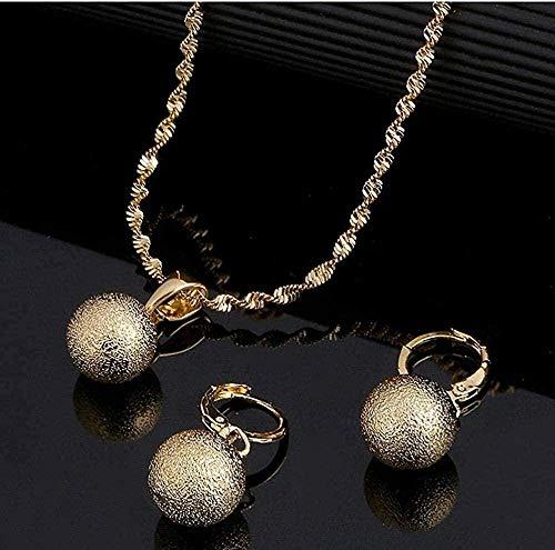 NONGYEYH co.,ltd Collar Colgante de Perlas Redondas con glaseado de Color Dorado, Pendientes de Bola para Mujer, Conjunto de Joyas de África