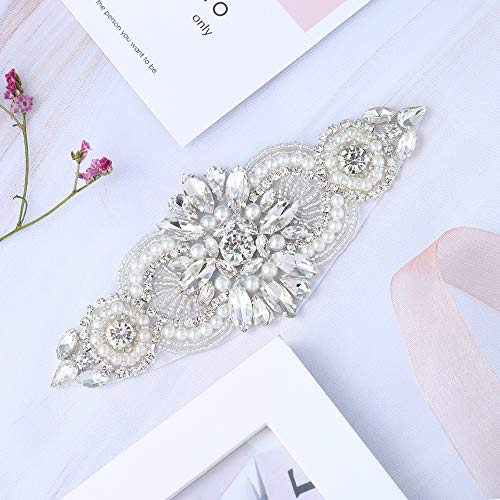 XINFANGXIU Small Size Crystal Garter Headpiece Applique Patch Rhinestone Sash Belt Applique with Beaded Decoration for Wedding Dress Bridesmaid Gown