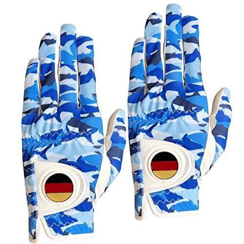 FINGER TEN 2020 Neu Golfhandschuh Herren Linke Hand Rechte Mit Ball Marker Allwetter Leder Griff Golf Handschuh Links Rechts Weicher Komfort Passform (Blau Fisch, L-Worn on Left Hand-2 Stück)