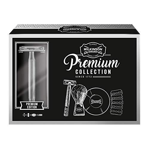 Wilkinson Sword Classic Geschenk Set Premium Vintage Edition mit Herren Rasierseife Rasierpinsel 5 Klingen, 408 g