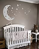 Moon and Stars Night Sky Vinyl Wall Art Decal Sticker Design for Nursery Room DIY Mural Decoration (Silver, 30x65 inches)
