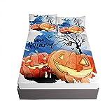 Halloween Impresión Juegos de Sábanas, Ouduo Microfibra Sábana Bajera Ajustable Bolsillo Profundo 30cm con 2 Fundas de...