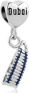 SexyMandala Travel to Italy/Rome/Paris/London/Dubai Landmark Series Charm Dangle for European Bracelet &Necklace