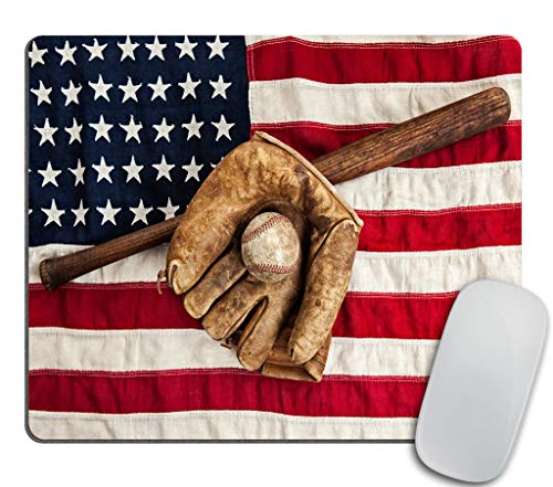 Vintage Baseball bat Mouse pad, Glove and Ball on a Vintage American Flag Rectangle Non-Slip Rubber Mousepad 9.5 X 7.9 Inch (240mmX200mmX3mm)