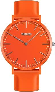 TONSHEN Simple Design Fashion Casual Analog Quartz Watch for Men and Women Multiple Colours Plastic Case with Rubber Band Dress Watches (Men Orange)