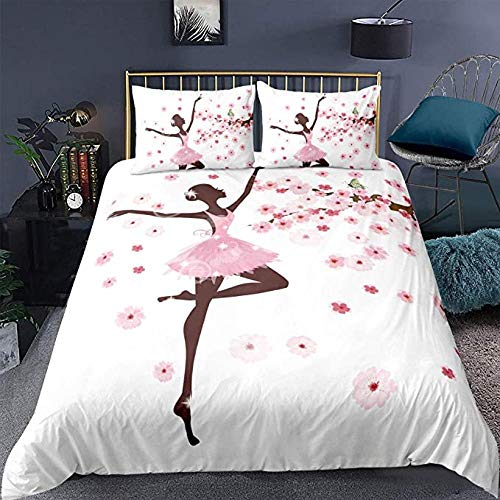 HUA JIE Animal Comforter Cover Twin,Butterfly Fairy Ballerina Princess Dancer Floral Branch Floral,Girls Decorative 3 Pieces Bedding Set