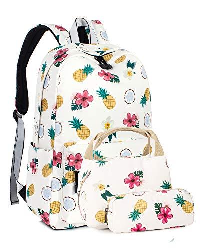 Leaper Pineapple 15.6 Inch Girls Backpack School Bookbag Lunch Bag Pencil Case