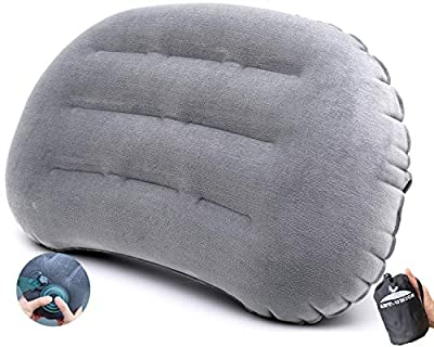 Ultralight Inflatable Camping Travel Pillow - Fast Inflatable by Pressing - Compressible Pillows for Backpacking & Hiking, Compact, Great for Hammock Bed & Camp, Comfortable Flocking Top