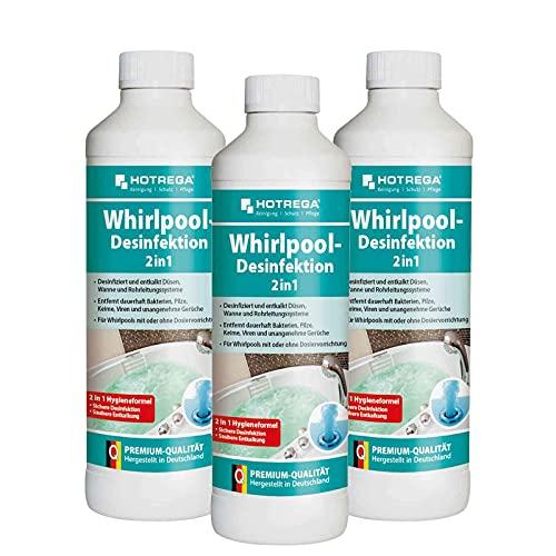 HOTREGA Whirlpool Desinfektion 2in1 500ml - Jacuzzi desinfizieren und entkalken Hot Tub Desinfektionsmittel, Mengen:3