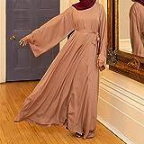 DSJTCH イードアバヤドバイトルコアラビア語イスラム教徒のファッションヒジャーブドレスカフタンイスラム教服ドレス女性VestidosローブMusulman・デ・モードの場合 (Color : Khaki dress, Size : L)