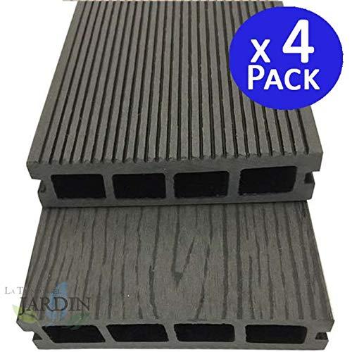 Tuintafel Composiet grijs 200 x 14,6 x 2,5 cm 4 stuks bestaande uit een heteroog mengsel van gerecycled natuurlijk hout en synthetische materialen.