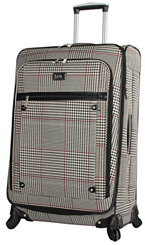 Nicole Miller New York Luggage Collection - Designer Lightweight Softside Expandable Suitcase- 20 Inch Carry On Bag with 4-Rolling Spinner Wheels (Sadie Beige)