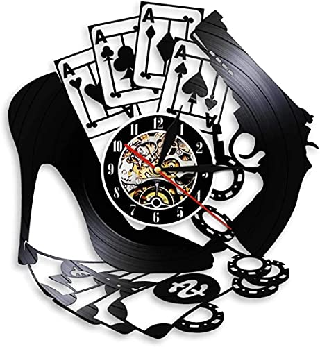 chazuohuaile Co.,ltd Reloj De Pared Reloj De Pared con Disco De Vinilo con Diseño De Las Vegas, Regalos para Cumpleaños, Ideas Navideñas para Niños, Niñas, Hombres, Mujeres, Adultos, Él Y Ella