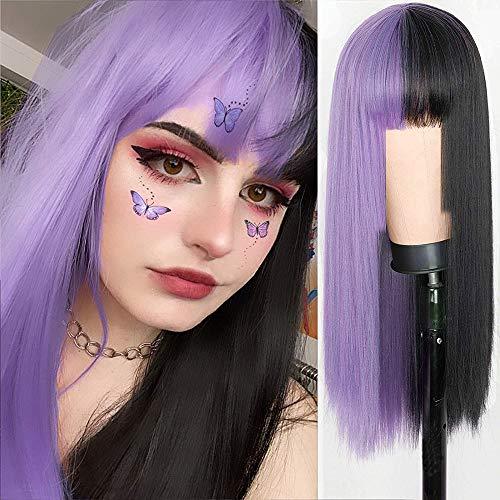 conseguir pelucas mujer pelo natural largo morado liso online