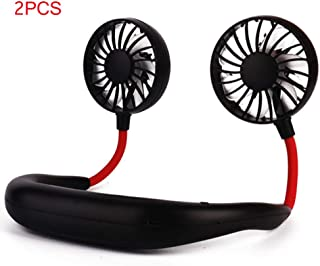 Portable Mini Fan, New Summer Small Cooling Hands-Free Lazy Neck Band Hanging USB Rechargeable Outdoor Dual Fan Air Cooler...