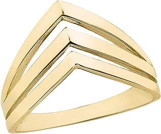 Women's 10k Yellow Gold Triple Chevron Ring V Shaped Band