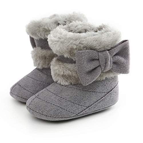 Baby Girl Plush Winter Snow Boots Bowknot Anti Slip Warm Infant Boots Toddler Prewalkers (6-12 Months Infant, 1-Grey)