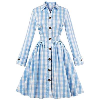 Women 50s Dress Plaid Pleated Waist Swing 1950s Vintage Dress with Pocket