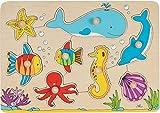 Goki - Puzzle a incastro con 8 animali, motivo: il mondo sottomarino...