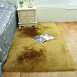 weiwei FauxSheepskin Rug Rectangular Rug Cleaner Fur FauxFleeceFluffy Area Rugs Anti-Skid Yoga Carpet for Living Room Bedroom Sofa Floor Rugs,D,45 45CM