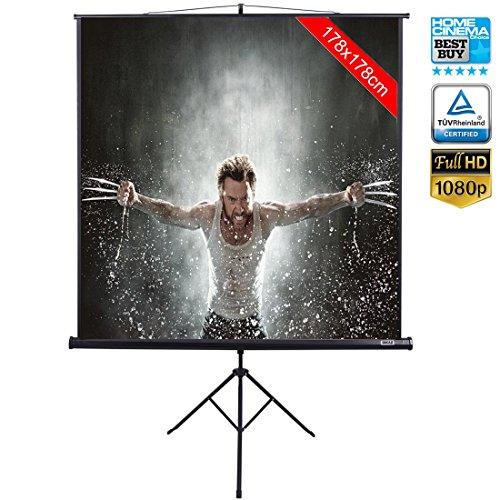 """Schermo per Proiezione Videoproiettore 99"""" con Treppiedi Cavalletto Pieghevole Portatile Salvaspazio Telo Proiettore 178 x 178 cm FULL HD TV 3D"""