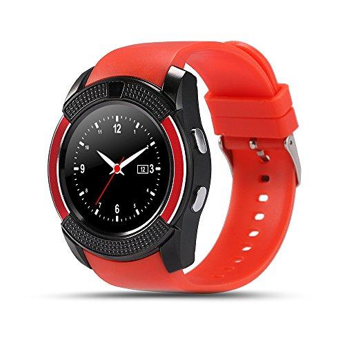 V8 Smartwatch Bluetooth Smart Horloge Touch Screen Polshorloge Met Camera SIM Card Slot Waterdichte Sport Horloge Voor Android,Red
