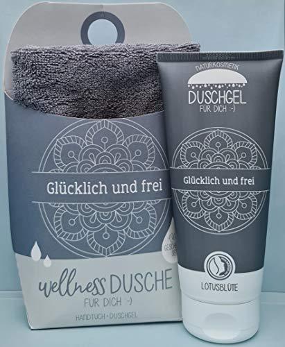 LaVida - Coffret cadeau Relax - Douche bien-être et libre - Cosmétique naturel certifié avec une serviette en coton biologique