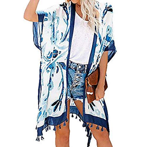 Vertvie Damen Bikini Cover Up Strandponcho Chiffon Kimono Cardigan Elegante Leichte Sommerjacke 3/5 Strandkleid Sommer Badeanzug Strandanzug Sommeranzug(Blau, One Size)