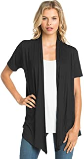 12 Ami Basic Solid Short Sleeve Open Front Cardigan...
