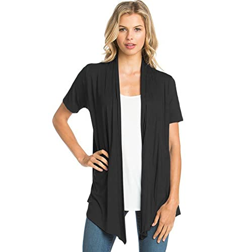 a949cd74cc9 12 Ami Basic Solid Short Sleeve Open Front Cardigan (S-3X) - Made